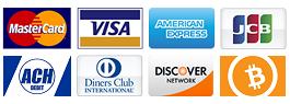 Accettiamo Visa, Mastercard, Bitcoin, Amex, JCB, Diners.